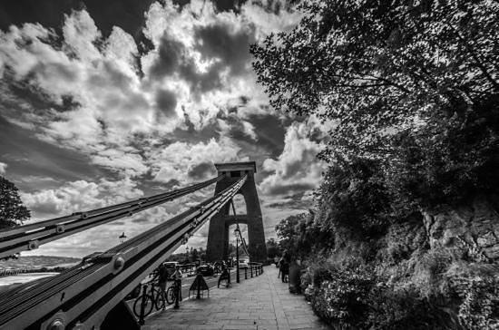 Clifton suspension bridge black and white view