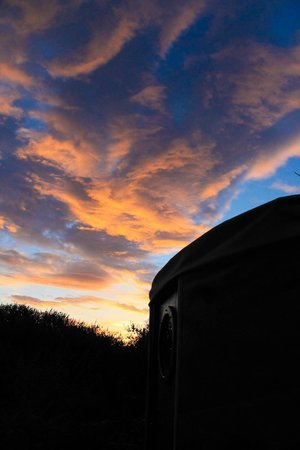 Trellyn Woodland Camping: Sunset over the yurt