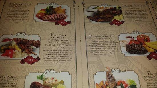 Forto Dvaras: Particolare del menù