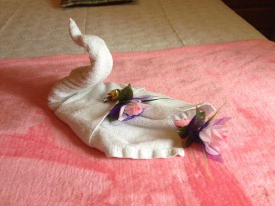 Hotel Playa de Vigo: Towel swan!
