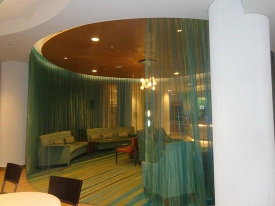"""SpringHill Suites by Marriott Atlanta Airport Gateway: lobby near check in desk-odd decor """"no words for this one"""""""