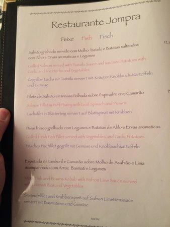 Restaurante Jompra: Menu