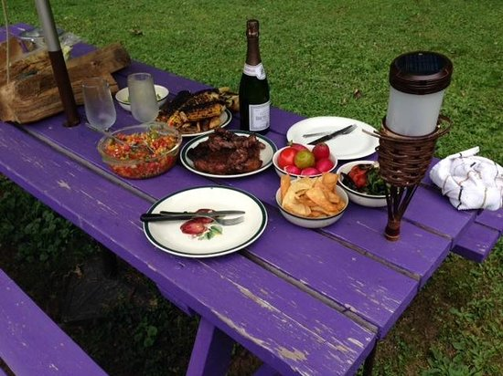 Starlite Motel: Setting the table for our anniversary dinner al fresco