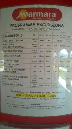 Club Marmara Sardegna : La fiche tarifaire des excursions.