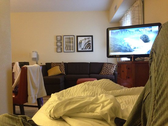 Residence Inn Mississauga-Airport Corporate Centre West: Watching shark week relaxing after breakfast