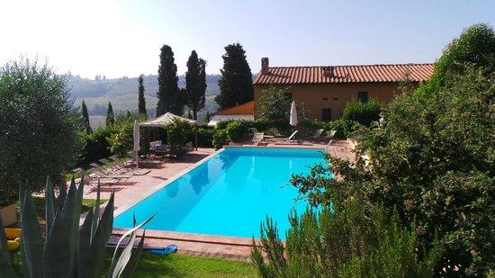 Montespertoli, Italia: Achterkant huis en groot zwembad