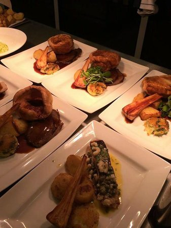 Engine Shed: Sunday lunch - roast salmon and pork.