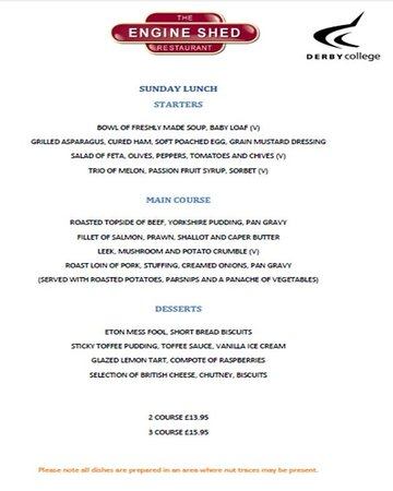 Sunday Lunch menu at the Engine Shed Restaurant in Derby