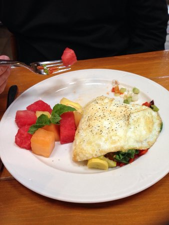 Costeaux French Bakery: Egg white omelet with fresh fruit.