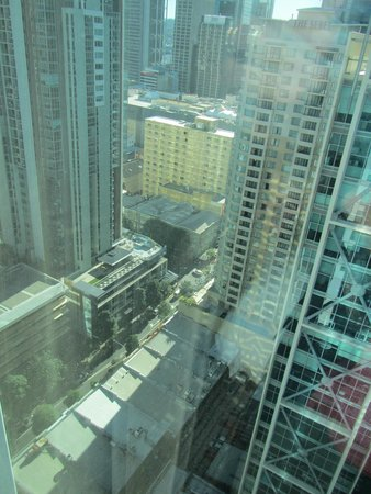 Four Points by Sheraton Brisbane: view through the glass wall, it was bright and hot with the sun coming in
