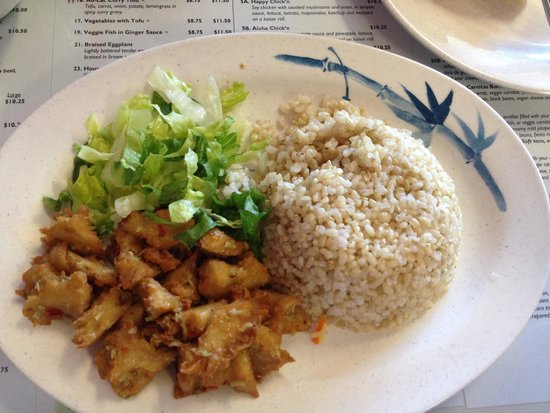 The Happy Bamboo: Lemon grass chicken tastes like real chicken.  Awesome and flavorful.