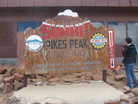 Pikes Peak Cog Railway: sign at the top