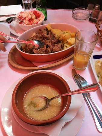 Kafana Question Mark: Our lunch: veal soup and long cooked stew from veal