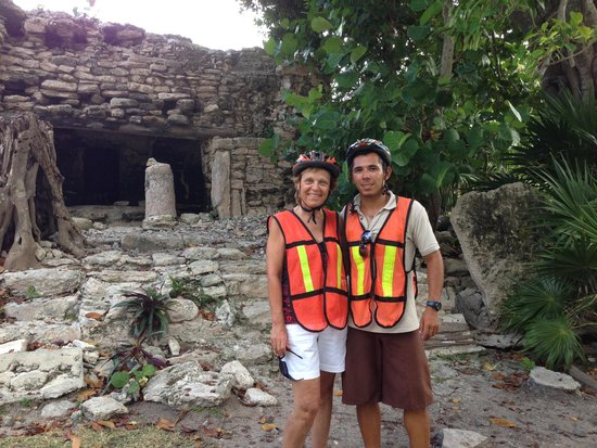 The Royal Playa del Carmen: with our bike tour guide (and performer extraordinaire) Pepe at Mayan ruins in Playacar