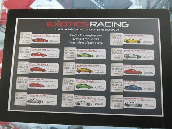 Exotics Racing: preços