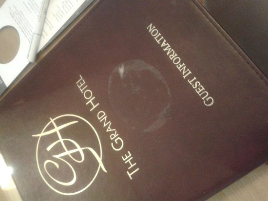 The Grand Hotel: welcome pack - tatty and marked....an indication of what to expect on our stay!