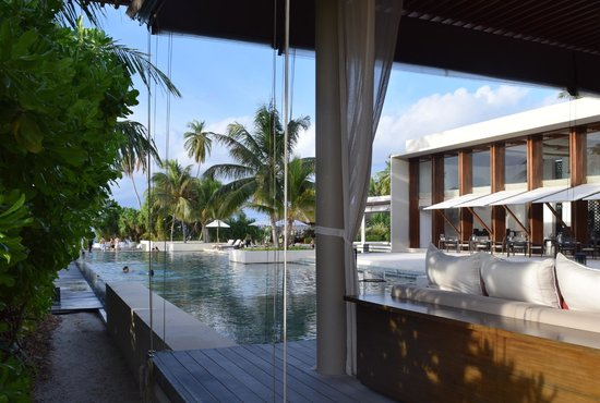 Park Hyatt Maldives Hadahaa: view of the public pool from the bar area