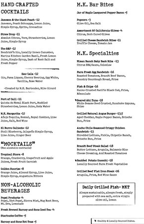 Marina Kitchen Restaurant and Bar: Bar Menu (just 2 of 6 pages)