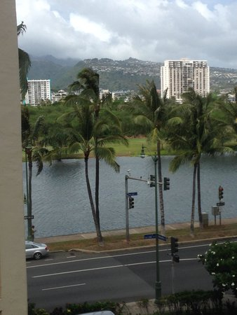 Aqua Aloha Surf Waikiki : View from one of our windows, looking over the canal towards the mountains