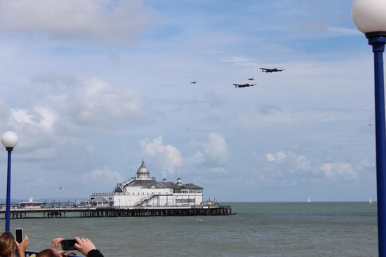 Eastbourne Bandstand: The arrival of the two Lancaster Bombers