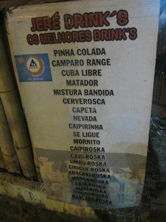 Praca Santo Antonio: Algumas das opções de bebidas