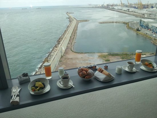 W Barcelona : Breakfast in room with a great view !