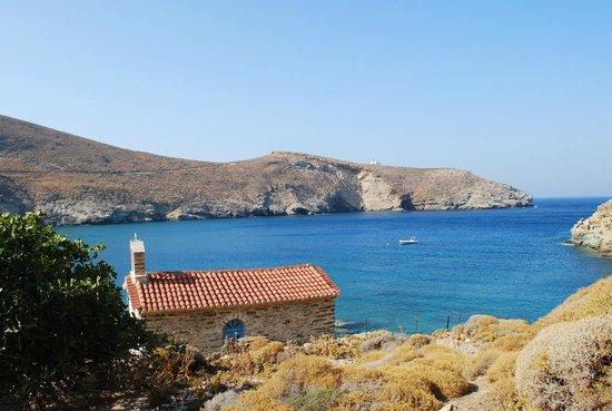 Onar: Achla beach from the chapel