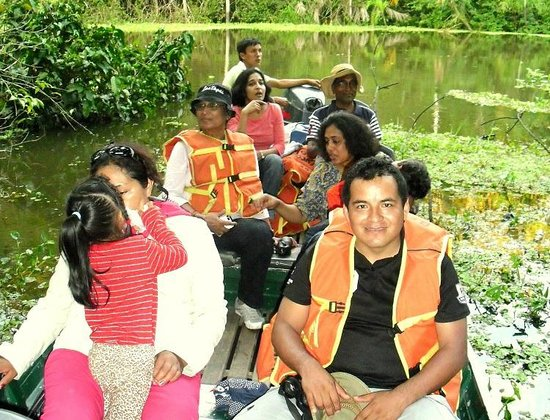 Curassow Amazon Lodge: A family going to observe fauna in the wild.