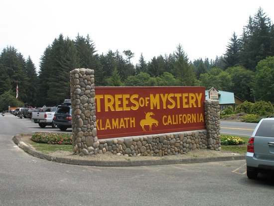 Trees of Mystery: sign in parking lot