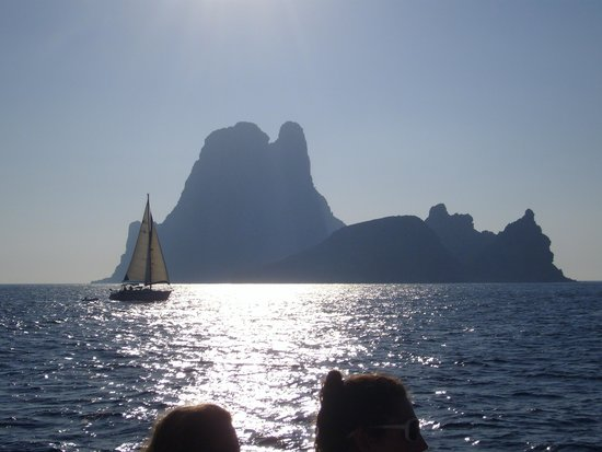 Playa de Ses Illetes: boat trip view to Formentera from Ibiza