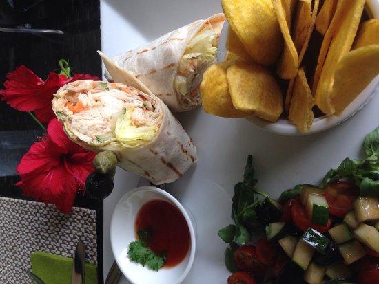 VERANDA Cafe: sweet chilli chicken wrap. (so good!)