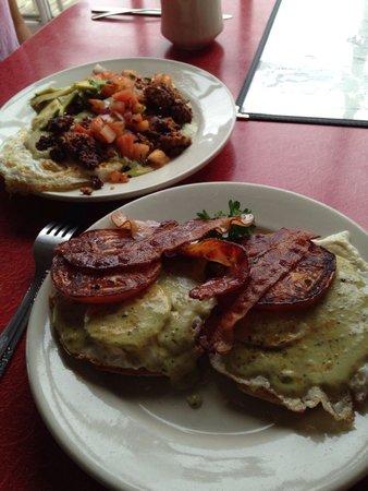 Firebird Cafe: Chorizo and Blackstone Benedict.