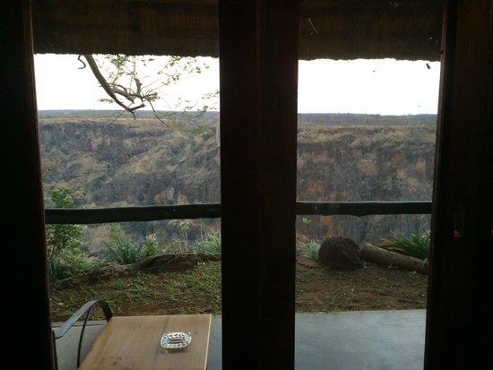 Gorges and Little Gorges Lodge: From bed, over terrace to gorge