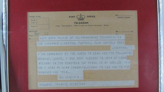 Anfield Stadium: telegramme from the queen 1977