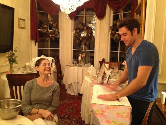 The Olde Savannah Inn: KATHLEEN AND HER SON IRONING FRESHLY LAUNDERED LINENS...