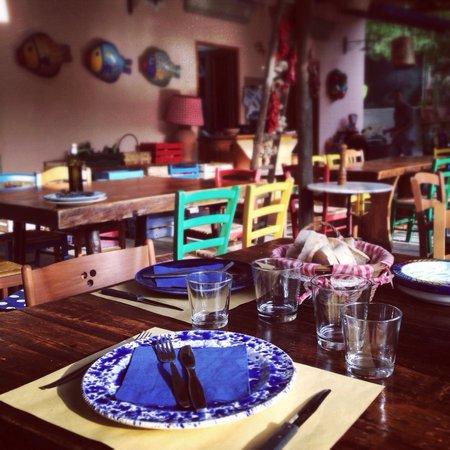 Trattoria Casa Colonica al Negombo: I tavoli apparecchiati sempre con piatti diversi