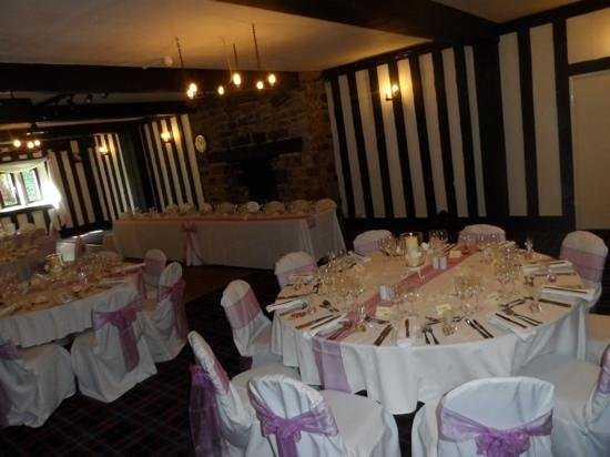 The Old Court Hotel: room set for a wedding party.
