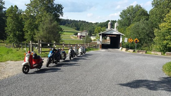 Strasburg Scooters: Covered bridge and our scooter gang!