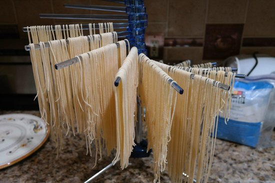 Torre del Tartufo Cooking Vacations Tuscany: Hand made spaghetti drying in my kitchen