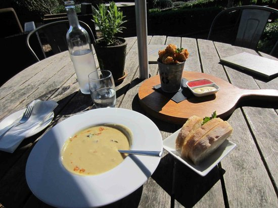 Mudbrick Vineyard & Restaurant : Potato Soup and Squid