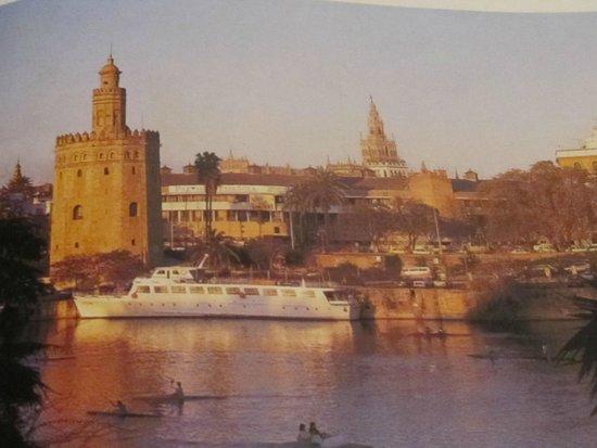 Catedral de Sevilla: la llamada torre de oro, y Guadalquivir en el que navegamos  fue un paseo muy relajante