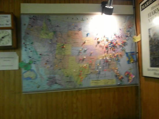 Busy Bee Restaurant : Map with pins marking home towns of diners