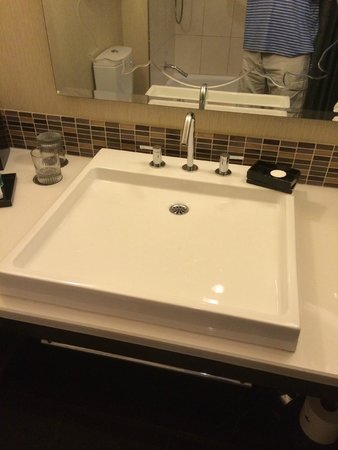 theWit - A DoubleTree by Hilton: A flat sink is not condusive to draining properly