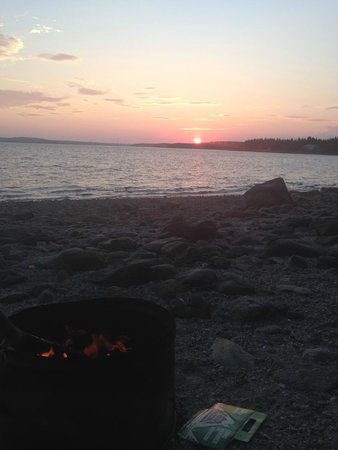 Oceanfront Camping at Reach Knolls: the view with our lobster dinner