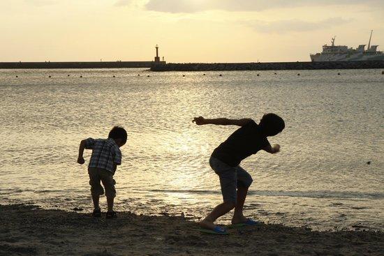 Irago Sea Park & Spa : 伊良湖シーパーク&スパの前のココナッツビーチの夕日