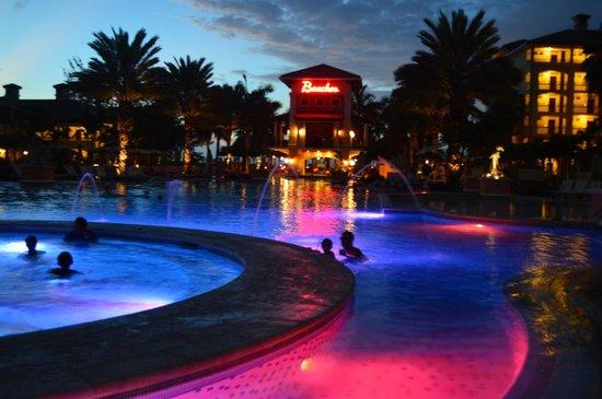 Beaches Turks & Caicos Resort Villages & Spa: Italian Village's pool at night
