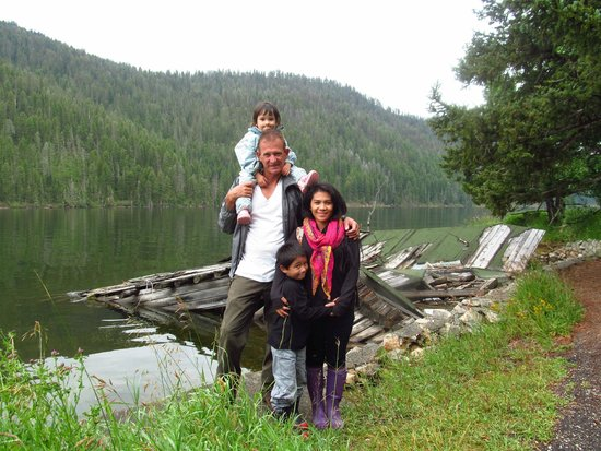 Earthquake Lake: The Blankenship- Behind us is the remains of the cabin that was destroyed during the 1959 Earthq