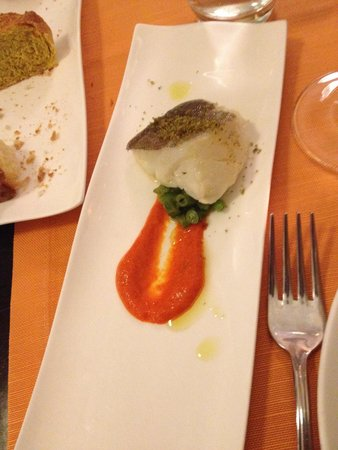 L'Osteria Dell'Orologio: Baccalà cotto a bassa temperatura con riduzione di pomodori e fagiolini