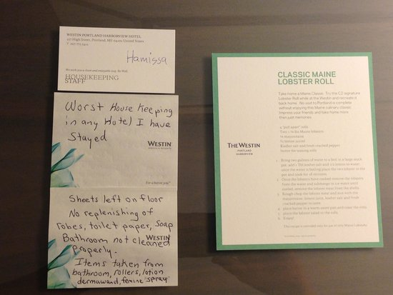 The Westin Portland Harborview: This is what I left for Housekeeping when we checked out