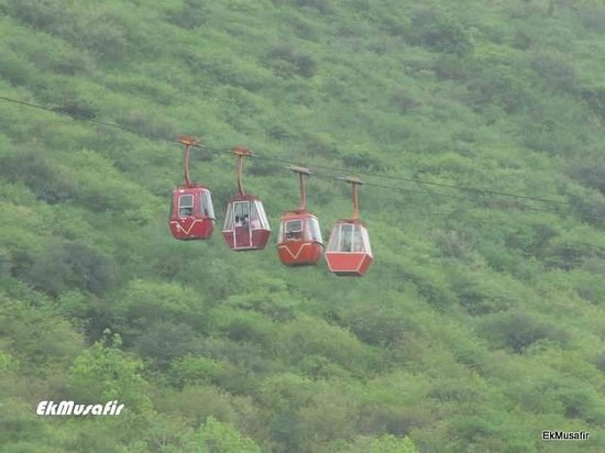 Mansapurna Karni Mata Ropeway : Two going up, two coming down